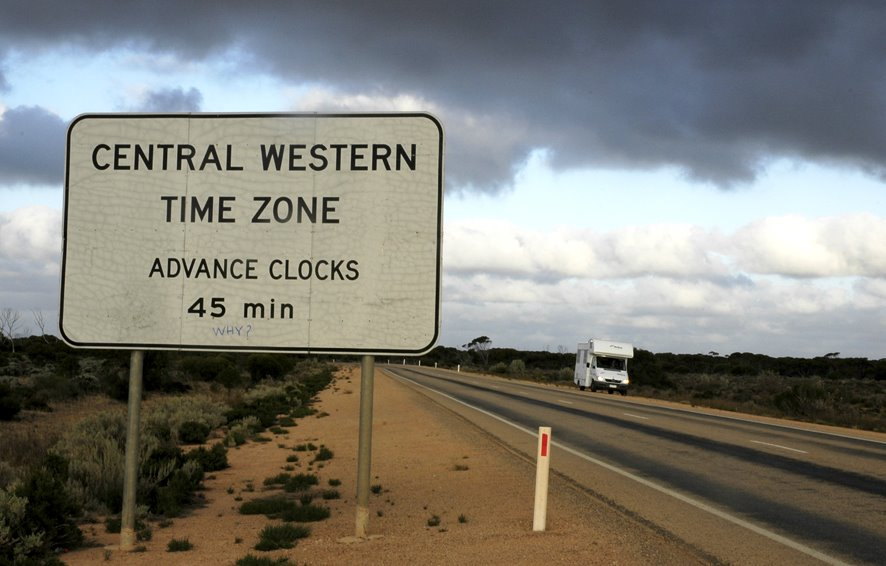 The official Western Australian Go vernment road sign declaring an unnofficial and little known time zone