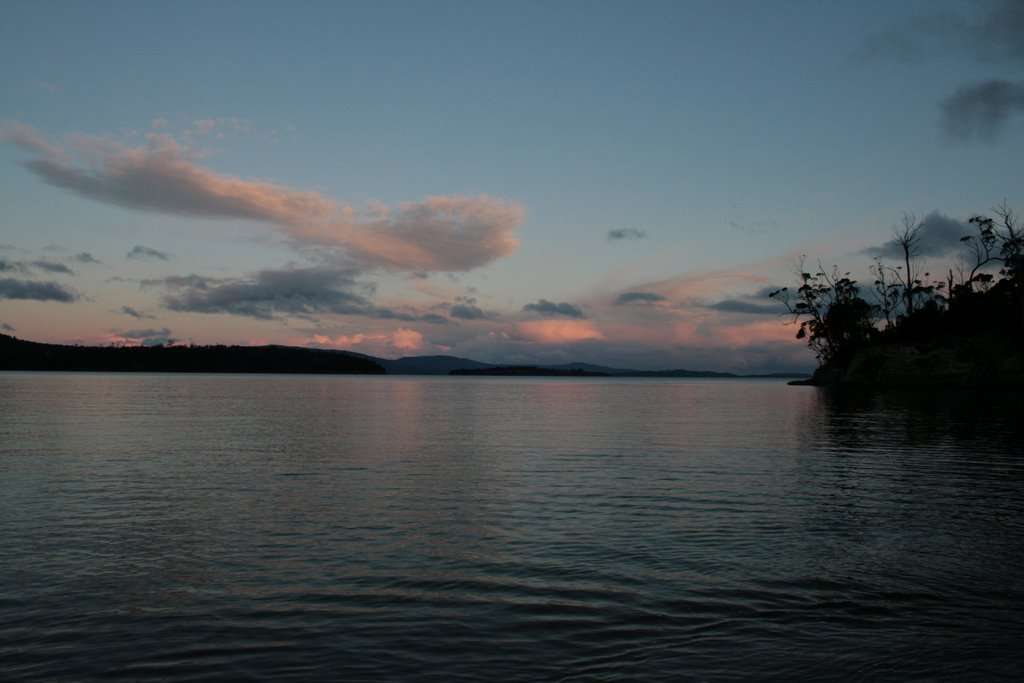 Sunset over Garden, Huon and Bruny Islands - Tasmania.   From Randalls Bay looking south