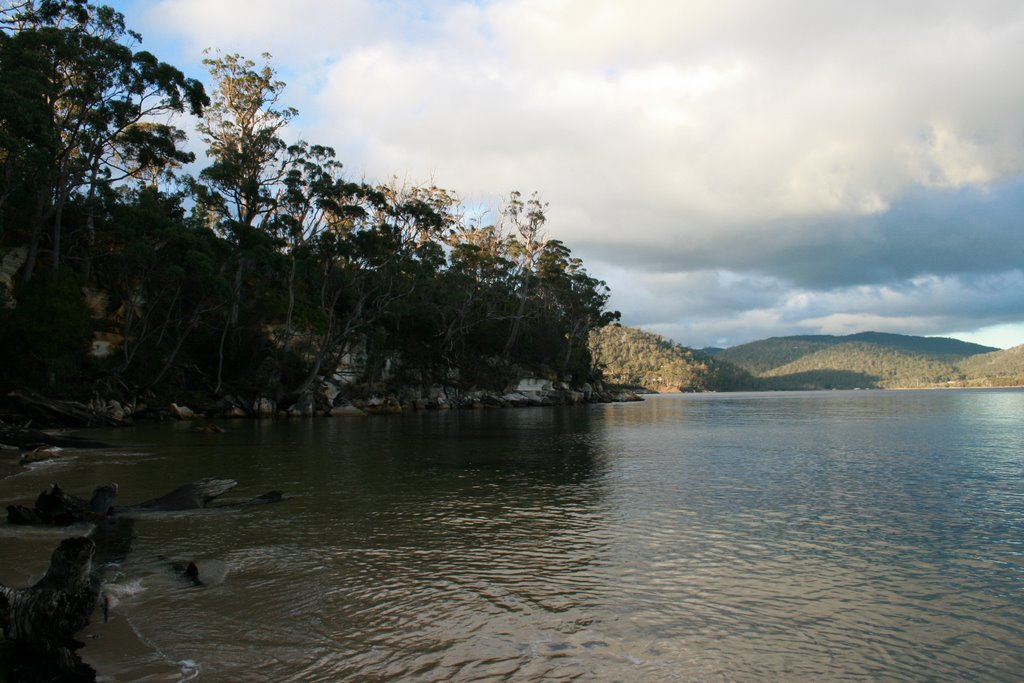 Evening sunlight over Randalls Bay, Tasmania