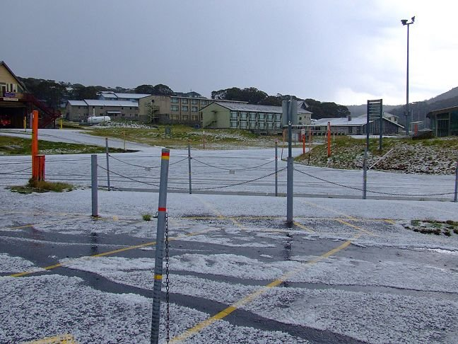 summer hail storm at Perisher Valley