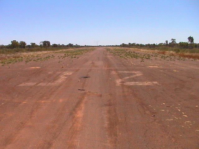 Looking down the historic runway 32 at Daly Waters Aerodrome.