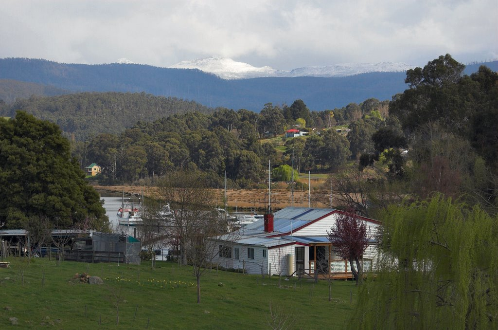 Snowy Hartz Mountain from Port Huon