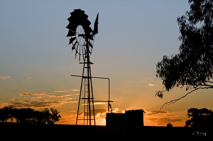 PHoto of Aussie windmill at Sunset