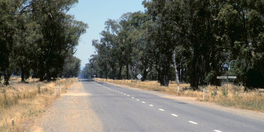 40 km of straight road to Wangaratta