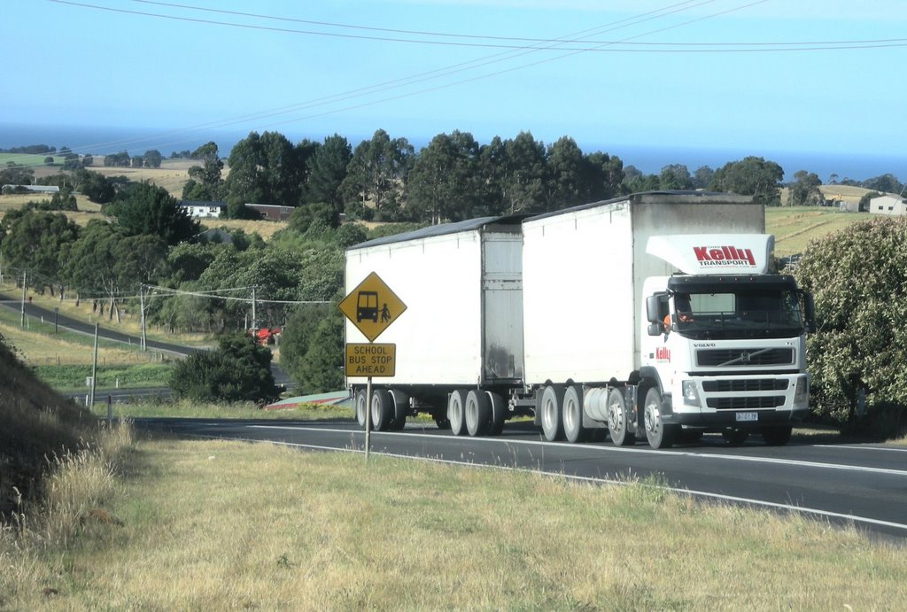 Wood chip truck between Gunns and Burnie Tasmania