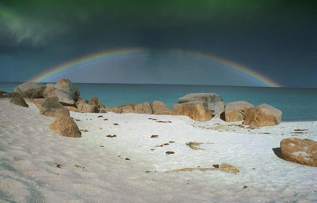 Rainbow over Bay of Fire, Tasmania