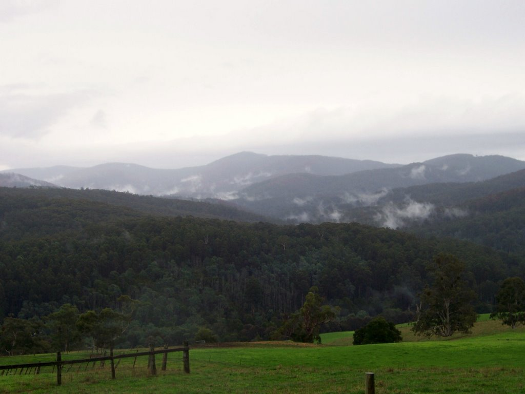 The steaming Mountains of the Bunyip & Tarago State parks from Neerim Sth