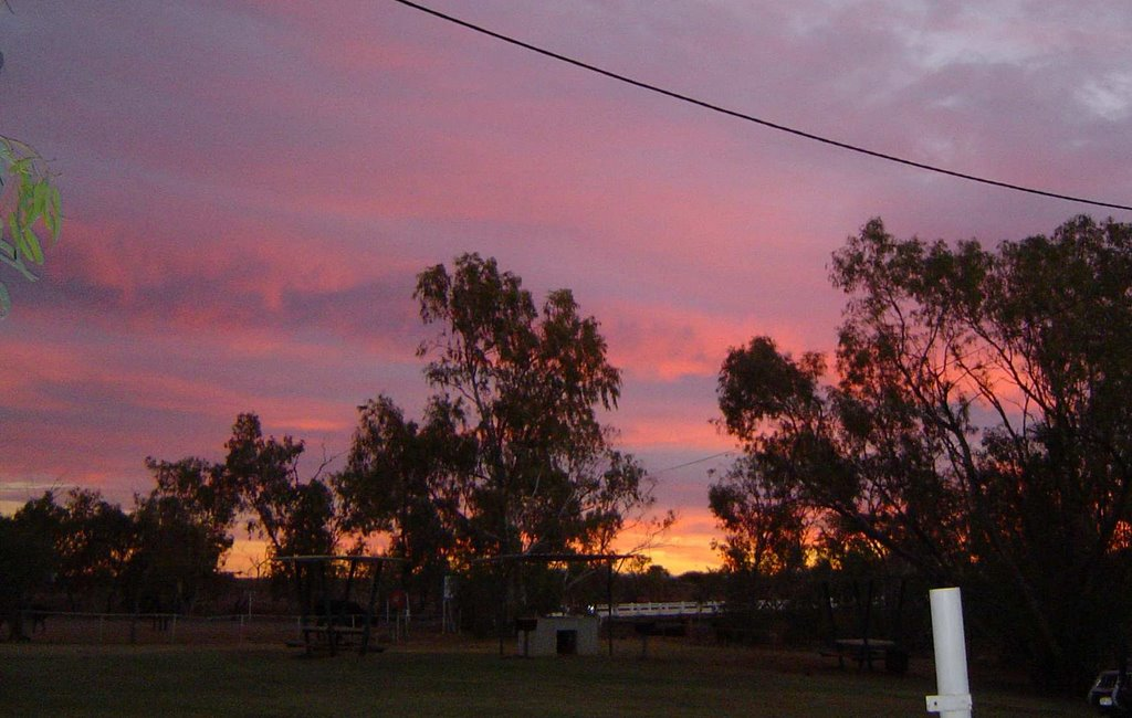 Sunset over Boulia from the Caravan Park