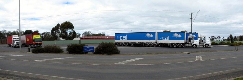 Truck/Trailer Exchange (2009). Because Nhill is 380km from Melbourne and 380km from Adelaide, it makes it a convenient place for truck drivers to drop off and pick up trailers