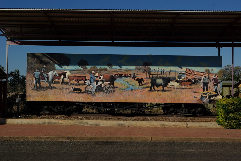 Train wagon with painting, Clermont, Australia