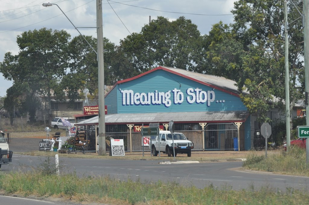 Meaning to stop Shop between Ipswich and Toowoomba