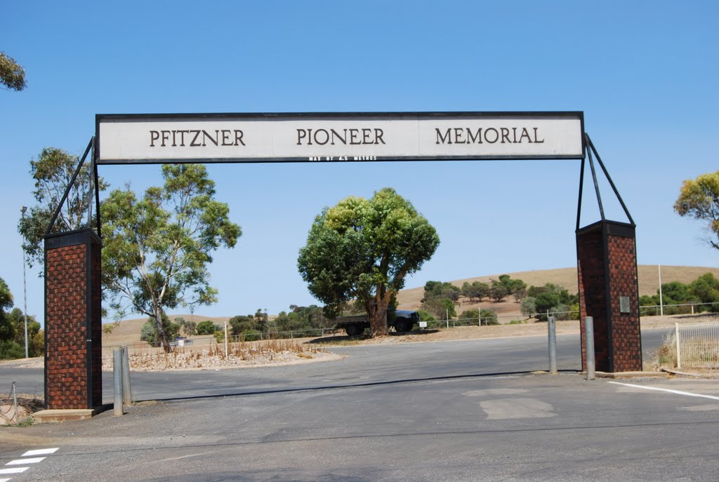 Pfitzner Pioneer Memorial - entrance gates at oval