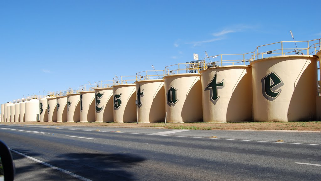 Old Berri Estates winery roadside storage tanks