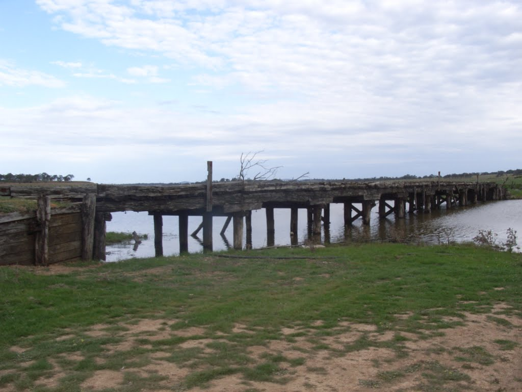 Old bridge revealed by drought at Lake Eppalock