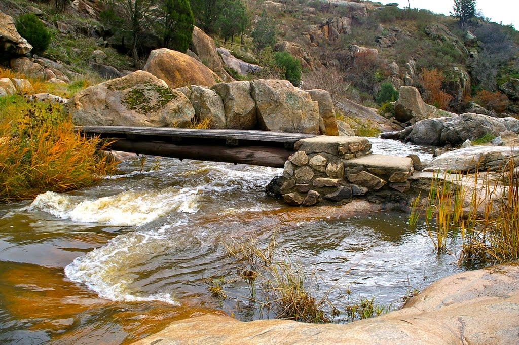 Bridge at Adelong Falls, reminiscent of Nepal