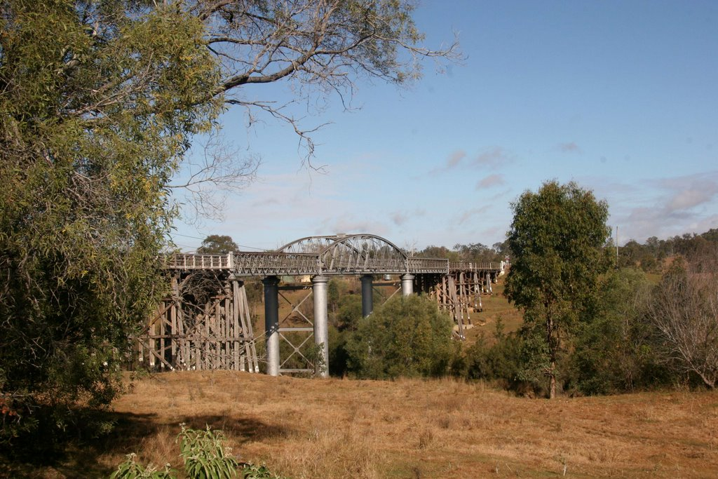 Dickabram Bridge carries the railway and road from Theebine to the South Burnett District, Queensland
