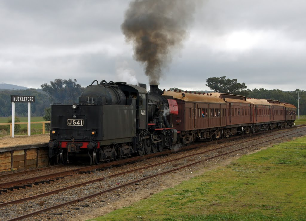 J541 arrives tender first at Muckleford Railway Station (2010). Muckleford is one of the stations on the line used by the Victorian Goldfields (tourist) Railway
