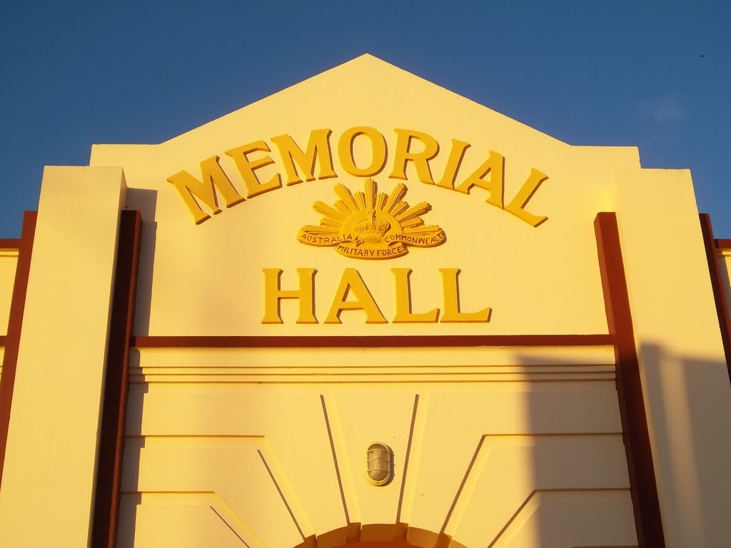 Facade of the wonderful Memorial Hall in Waroona, Western Australia