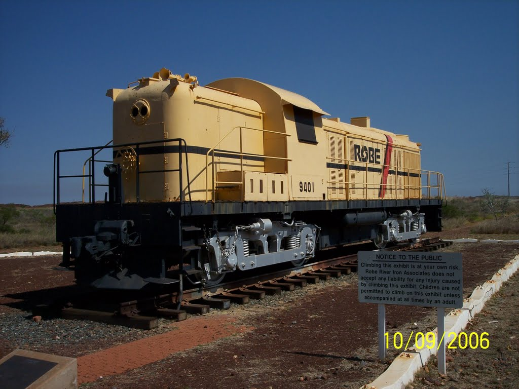 Old ROBE loco on display at Wickham WA