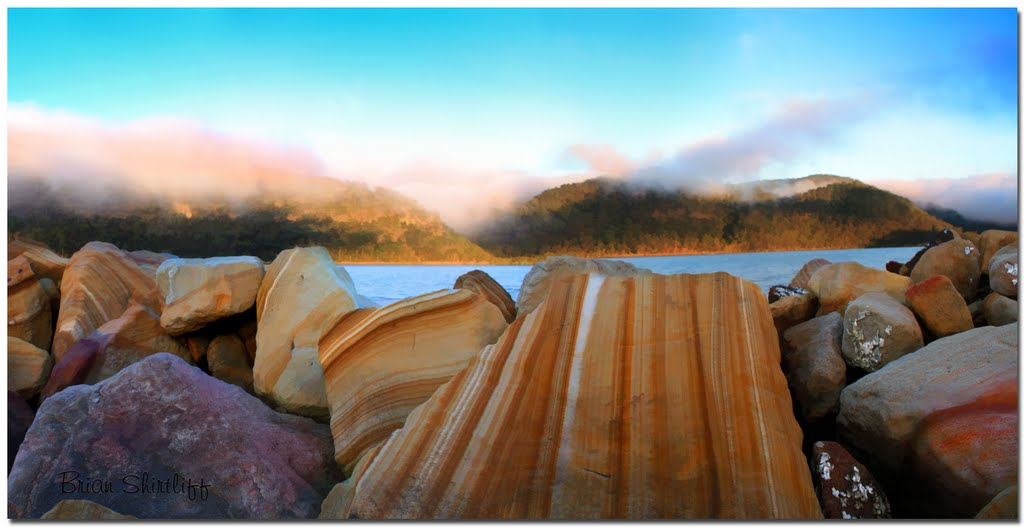 Hawkesbury River - Rocks with Mist at Sunrise