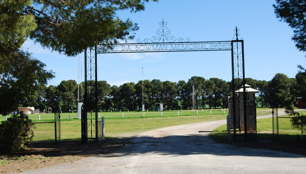 D.A. Bowman Memorial Arch: entry to oval and playing fields