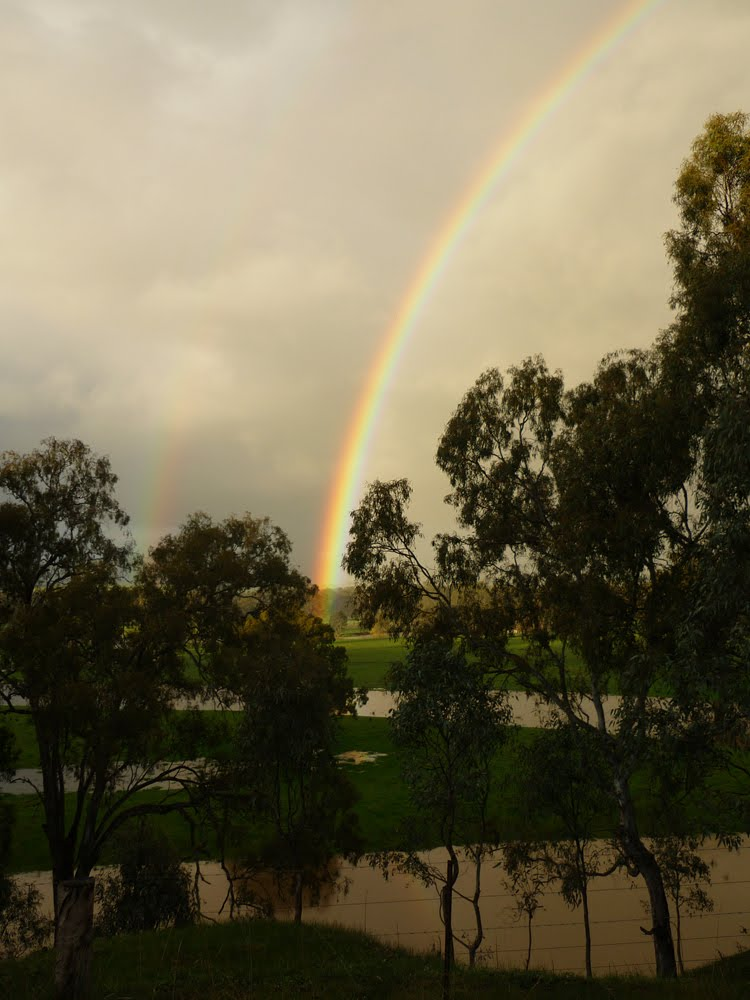 Rainbow over the Goulbourn flooded paddocks