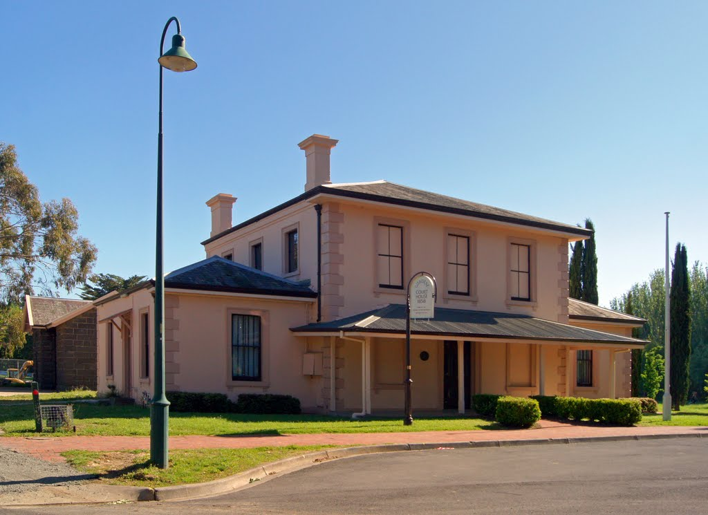 Gisborne Court House (2010). The beautifully restored, 1858 Court House, is now home to the Gisborne and Mount Macedon Districts Historical Society