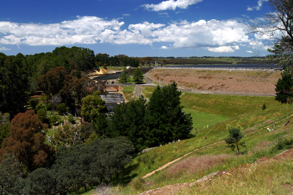 Upper Coliban Reservoir Spillway (2010) - this catchment is now spilling water for the first time since November 1996