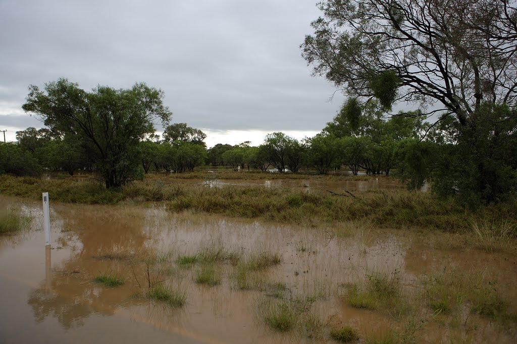flooded road between Blackall and Barcaldine