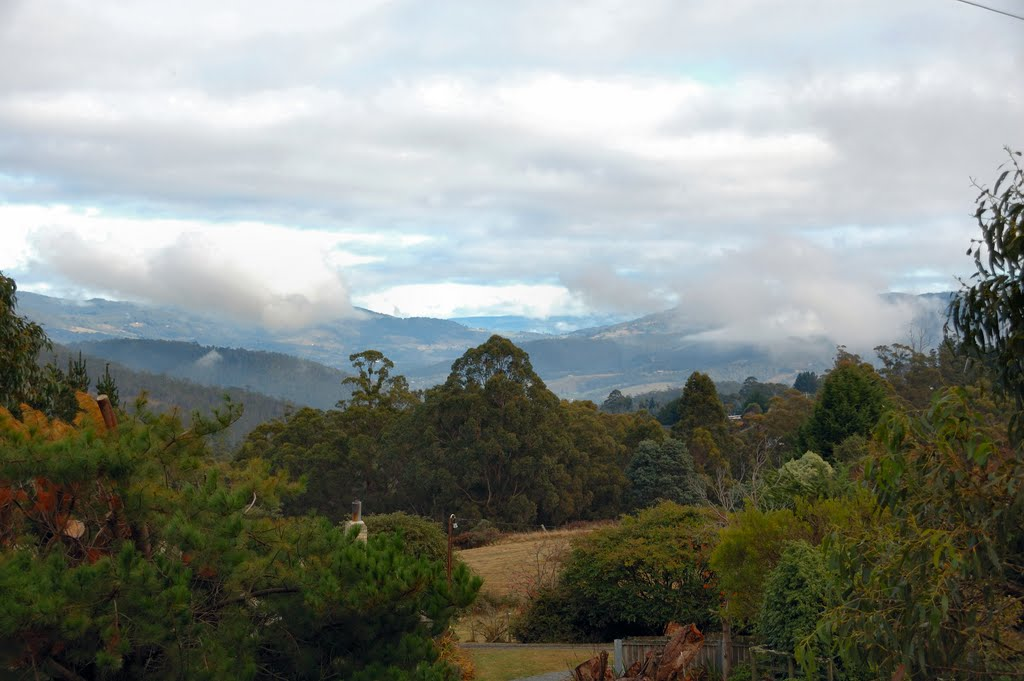 Clouds lifting over Huon Valley