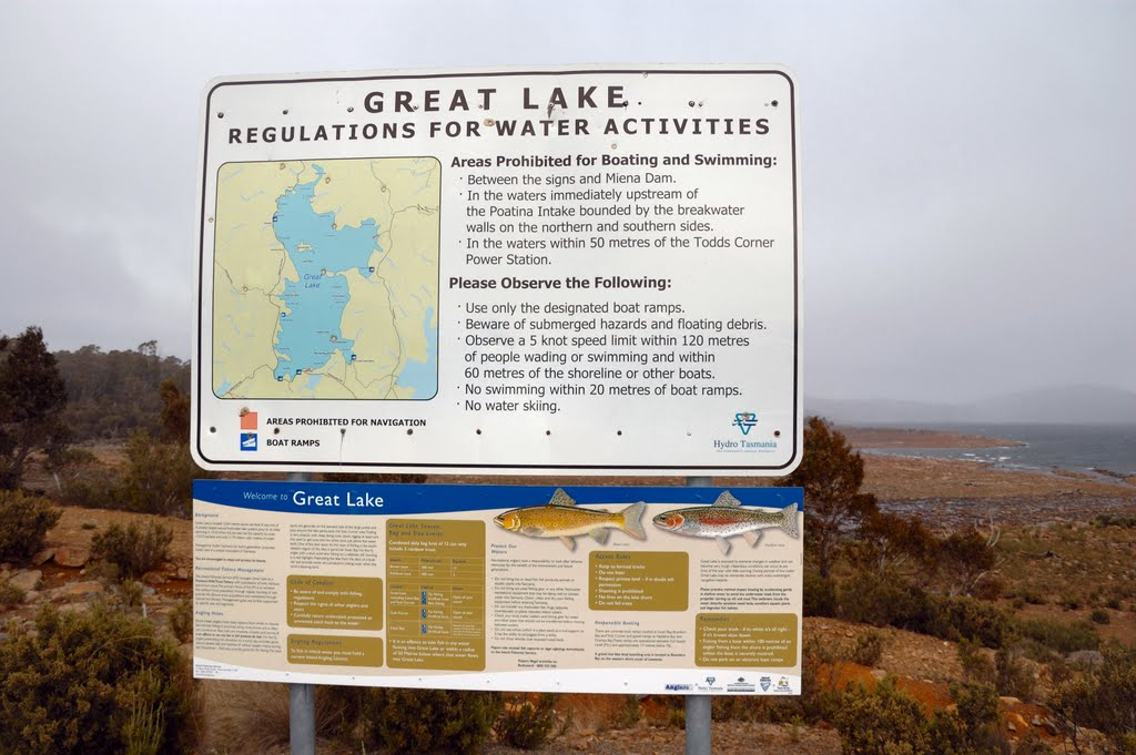 Sign at Poatina Intake on Great Lake