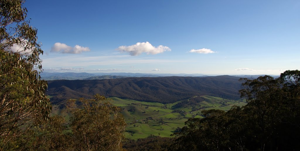 Pano looking west over Georges Creek Road - from Mt Granya - 2007