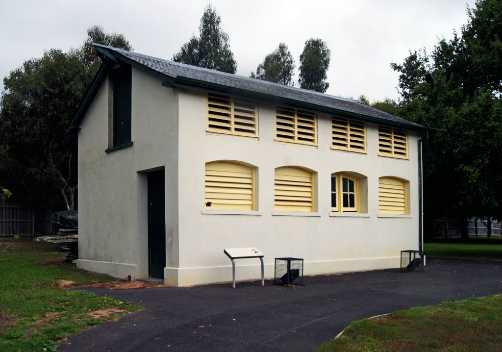 Smythesdale Stables (2011). These four-stall stables, built in 1859 for the Mounted Police horses, are the oldest rendered brick stables in Victoria