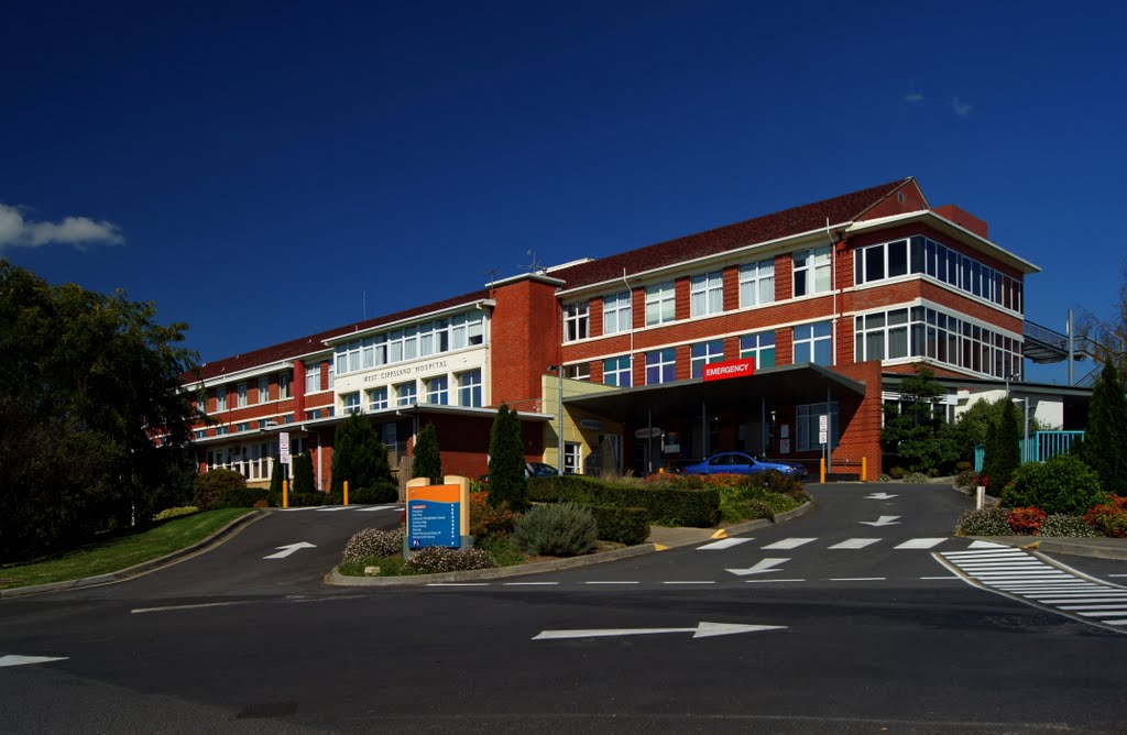 West Gippsland Hospital (2011).  First established here in 1888, the hospital now provides acute medical and surgical, obstetric, emergency, community and aged care services