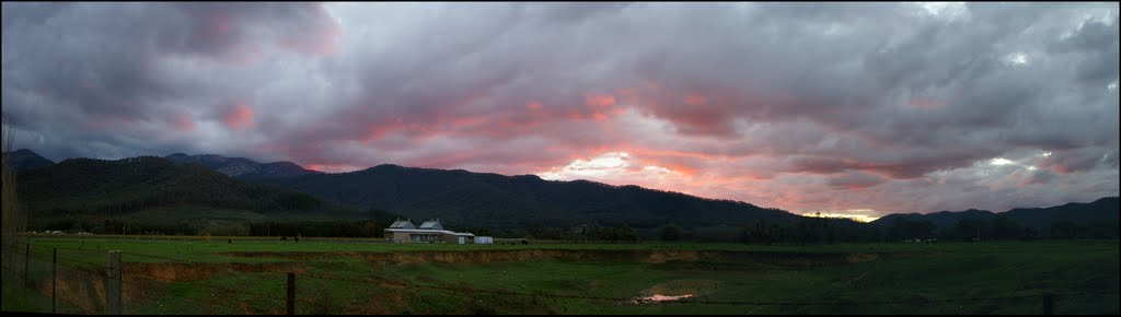 Sunset panorama showing the Ovens Valley and Mt Buffalo flank.