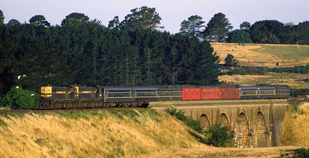 X41 leads the evening train to Swan Hill across Malmsbury viaduct, 1980