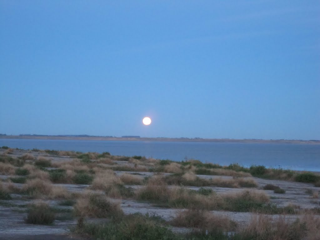 full moon rising over Lake Corangamite