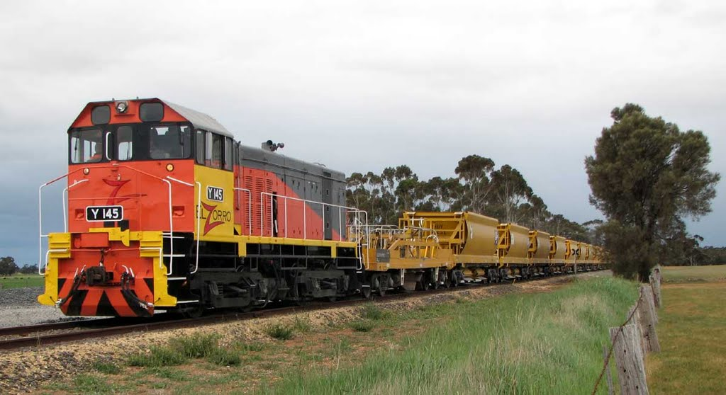 Picking up a load of ballast for the Mildura line upgrade. And the video http://www.youtube.com/watch?v=oPd8XGCS4vg