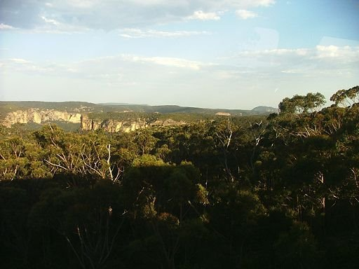 View into upper Grose Valley with Mt Banks and Mt Tomah