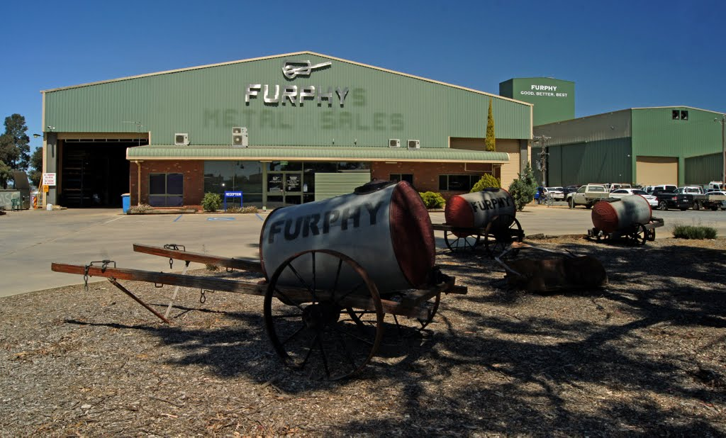Furphy (2011). In 1873 John Furphy set up a blacksmith and foundry in Shepparton. The water carts he manufactured were used extensively by the Australian Army in WW1