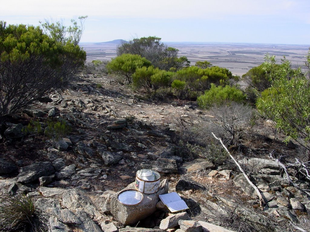 Looking back towards Caralue Bluff from the top of Darke Peak with the visitors book in the foreground