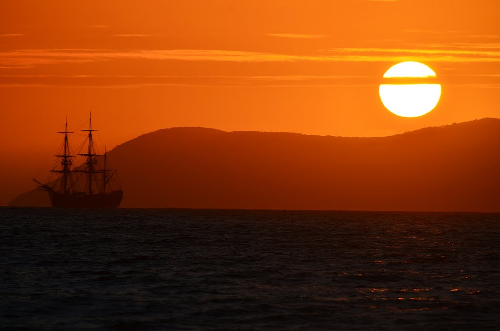 Sunrise over the HMB Endeavour