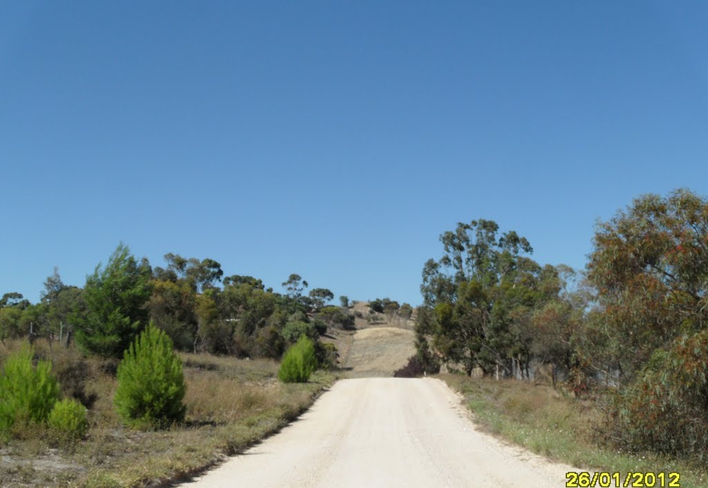 Looking up towards PENRICE SODA Products QUARRY area from along Waechter Road, in the BAROSSA VALLEY, on 26-01-2012