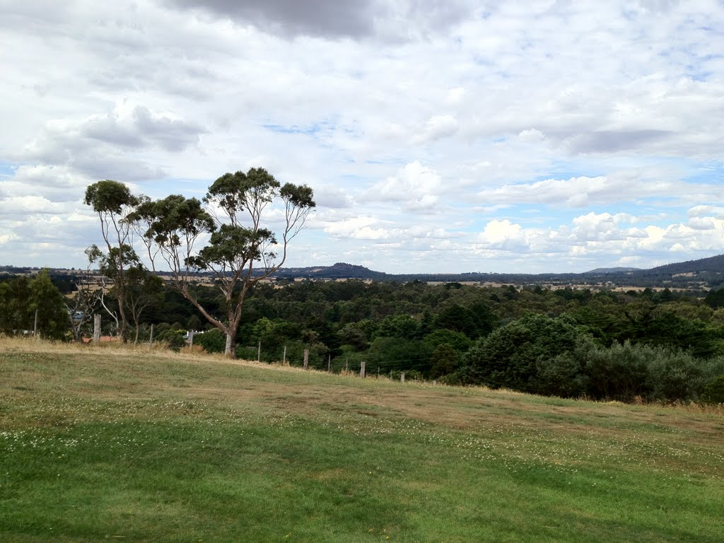 View from 5th green at Woodend Golf Club - looking at Hanging Rock