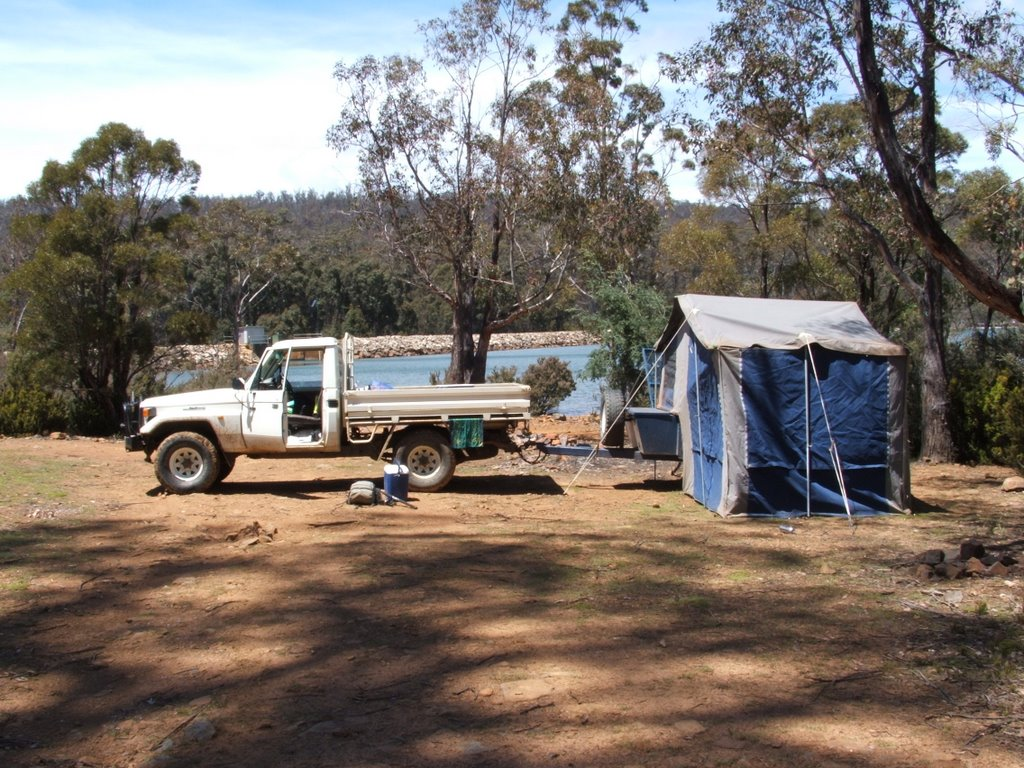Setting up camp Woods lake Tasmania