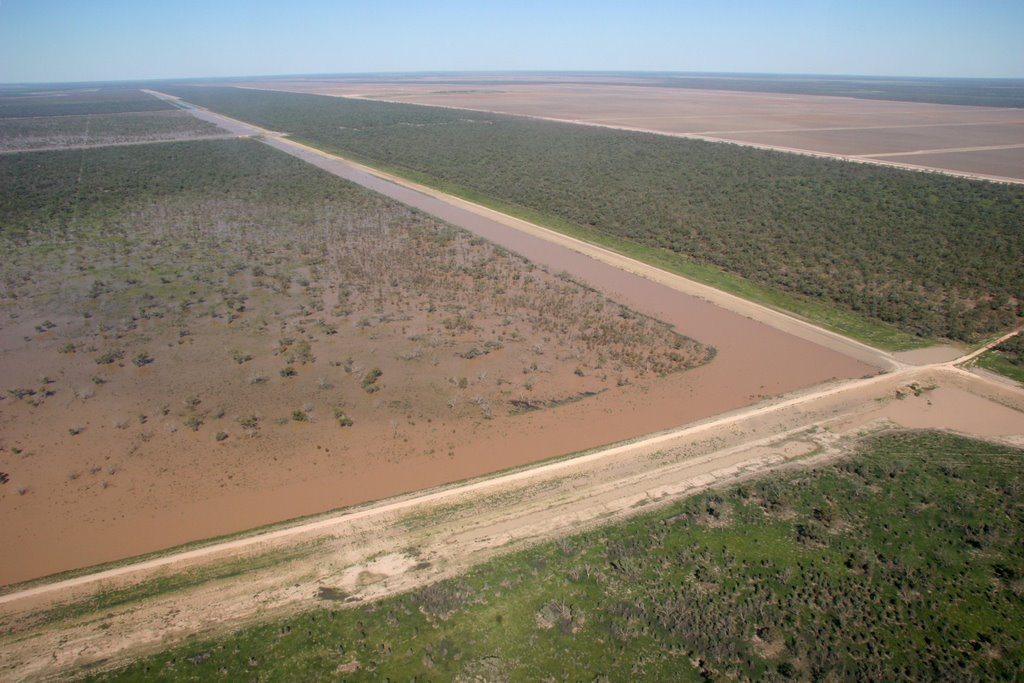 Water Storages, Floodway and cultivation on Cubbie Station, Queensland.