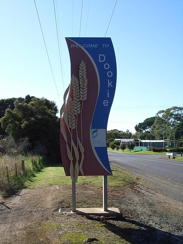 The sign seen on entering the town of Dookie in Victoria, Australia