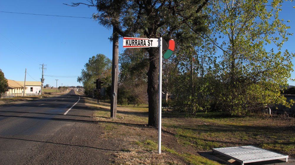 Werris Creek is a railway town with signals for street names.
