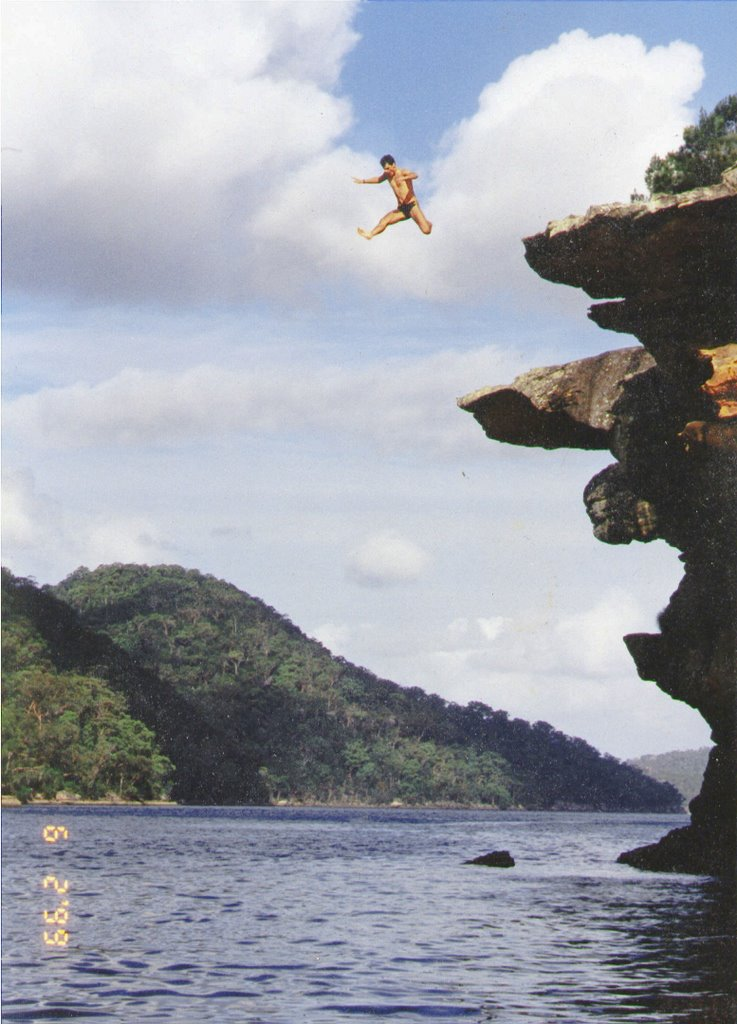 Me leaping off the overhang (10m high) into 7m deep water