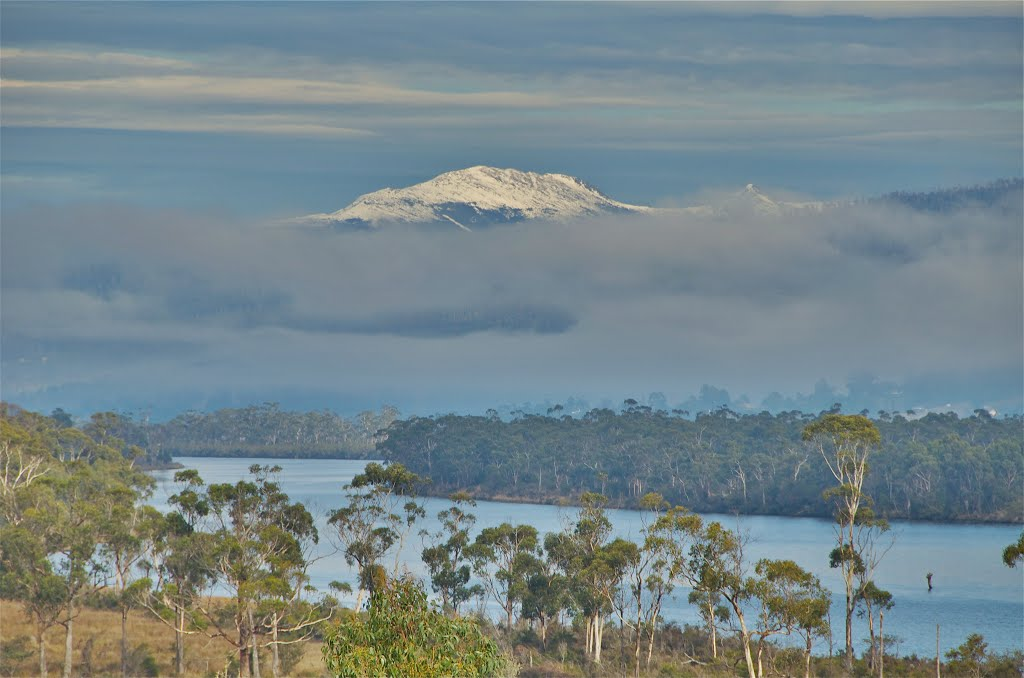 Huon River and Adamsons Peak, Huon Valley, Tasmania, Australia